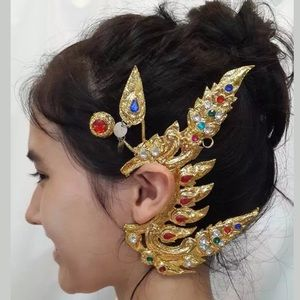 🆕🌹TRADITIONAL THAI STYLE DANCE GOLD EARRINGS VTG
